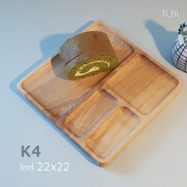 khay vuong chia ngan k4 2 600x600 - Khay gỗ chia ngăn - khay ăn dặm cho bé - vuông 22cm