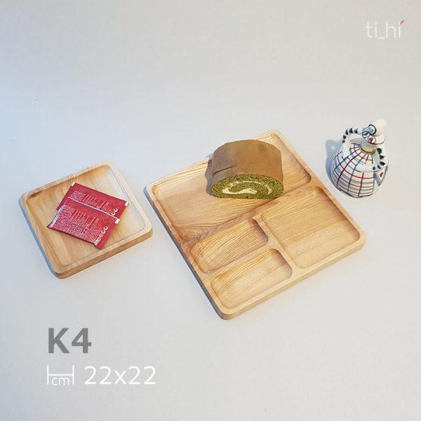 khay vuong chia ngan k4 4 600x600 - Khay gỗ chia ngăn - khay ăn dặm cho bé - vuông 22cm