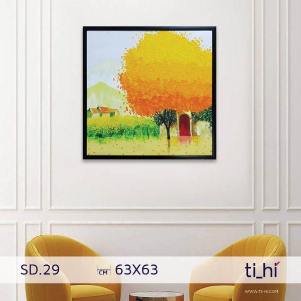 tranh son dau cay SD29 600x600 - Tranh sơn dầu cây nhiều mẫu - vuông 2 size 52 và 64cm