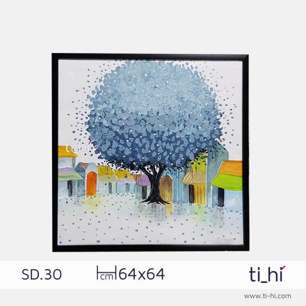 tranh son dau cay SD30 3 600x600 - Tranh sơn dầu cây nhiều mẫu - vuông 2 size 52 và 64cm