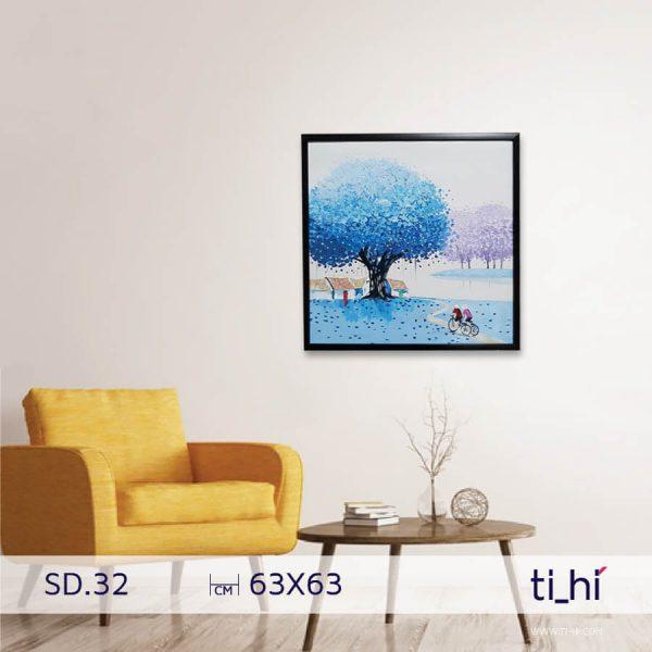 tranh son dau cay SD32 600x600 - Tranh sơn dầu cây nhiều mẫu - vuông 2 size 52 và 64cm