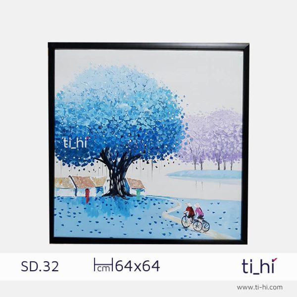tranh son dau cay SD32 2 600x600 - Tranh sơn dầu cây nhiều mẫu - vuông 2 size 52 và 64cm