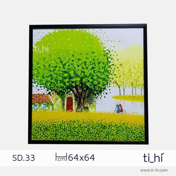 tranh son dau cay SD33 2 600x600 - Tranh sơn dầu cây nhiều mẫu - vuông 2 size 52 và 64cm