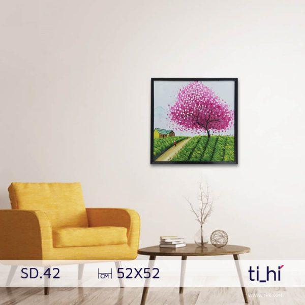 tranh son dau cay SD42 600x600 - Tranh sơn dầu cây nhiều mẫu - vuông 2 size 52 và 64cm