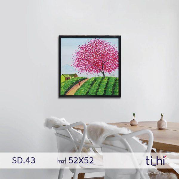 tranh son dau cay SD43 600x600 - Tranh sơn dầu cây nhiều mẫu - vuông 2 size 52 và 64cm
