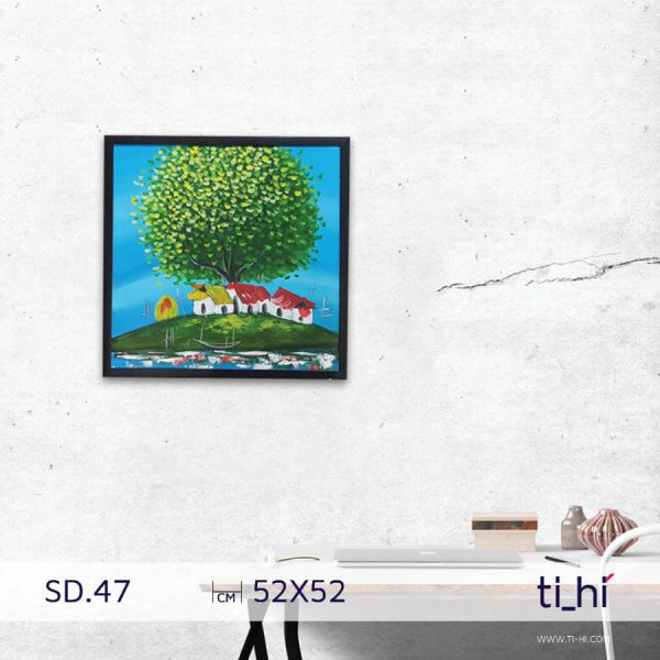 tranh son dau cay SD47 2 600x600 - Tranh sơn dầu cây nhiều mẫu - vuông 2 size 52 và 64cm