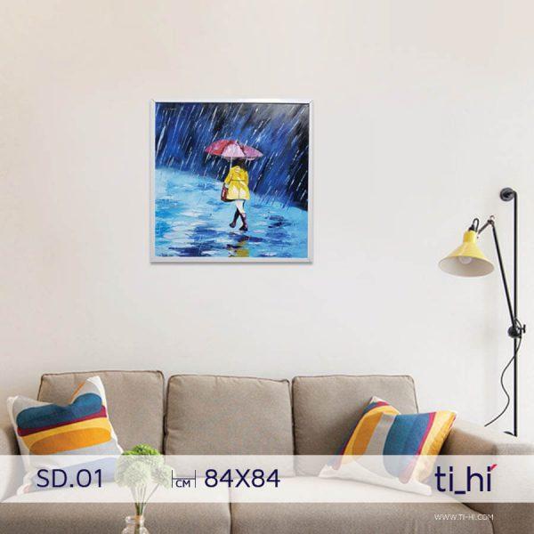 tranh son dau co gai SD01 600x600 - Tranh sơn dầu cô gái nhiều mẫu 3 kích thước
