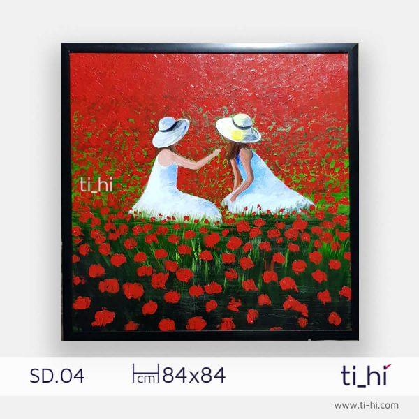 tranh son dau co gai SD04 2 600x600 - Tranh sơn dầu cô gái nhiều mẫu 3 kích thước