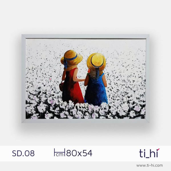 tranh son dau co gai SD08 2 600x600 - Tranh sơn dầu cô gái nhiều mẫu 3 kích thước