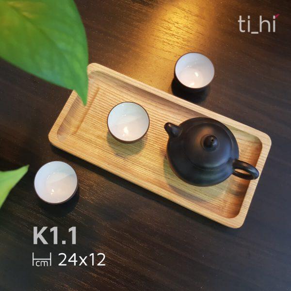 k1 1 1 600x600 - Khay gỗ để bộ ấm trà khía rãnh 24x12 cm